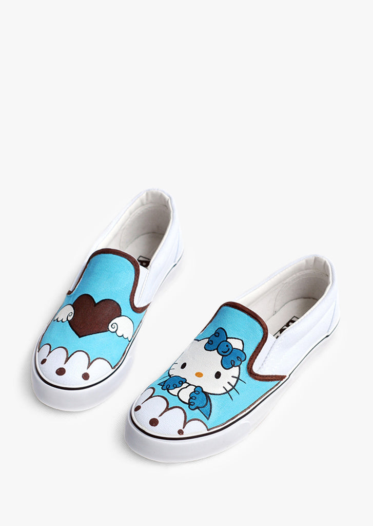 Cute Blue Hellow Kitty Slip-on Sneakers
