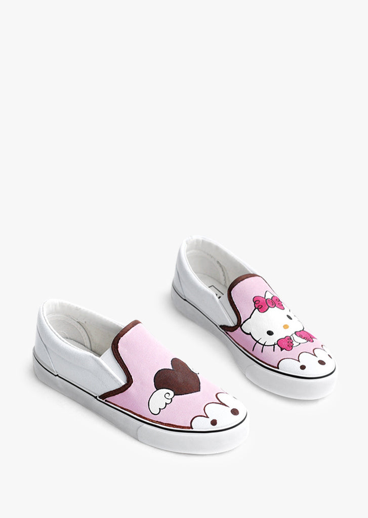 Cute Pink Hellow Kitty Slip-on Sneakers