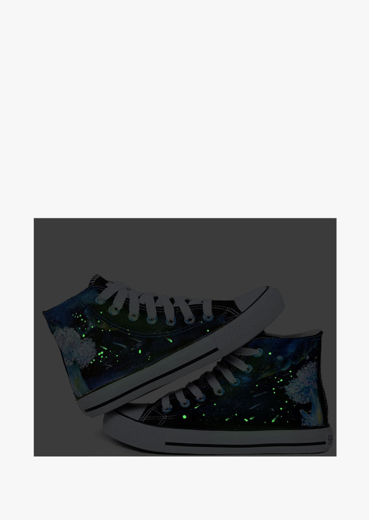 Hand Painted Glow In The Dark Canvas Sneakers