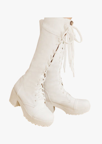 Leather Lace Up Boots In White
