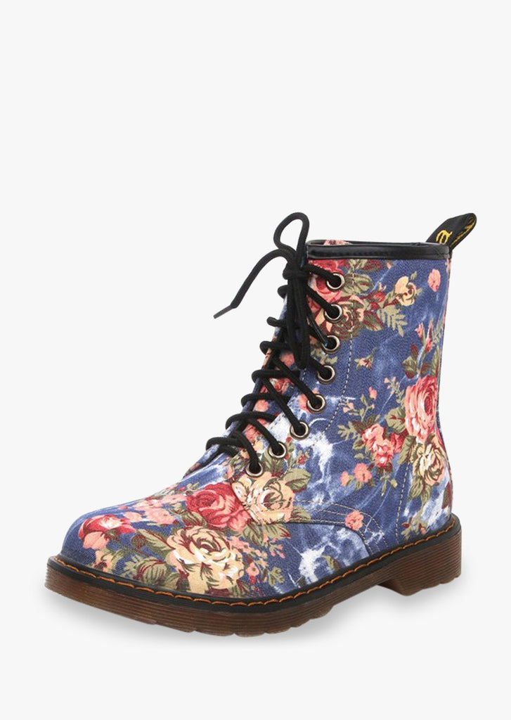 Martin Lace Up Floral Boots