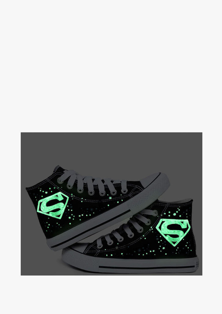 Glow In The Dark Lace Up Sneakers In Black