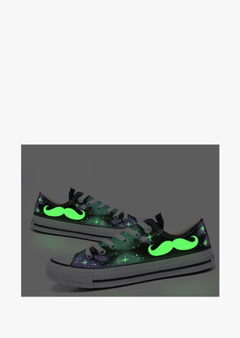 Beard Hand Painted Glow In The Dark Sneakers