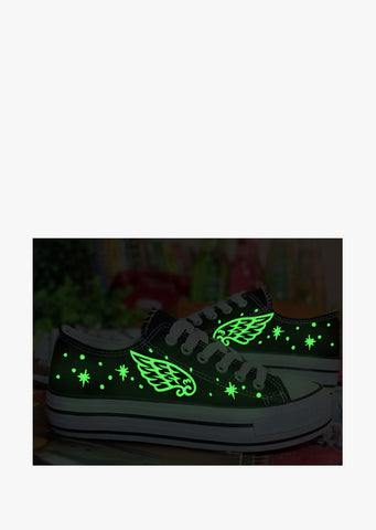 Glow In The Dark Low Top Sneaker In Black