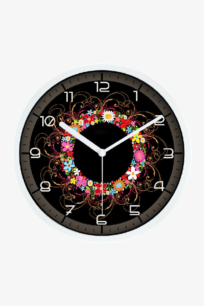Colorful Flowers Clock