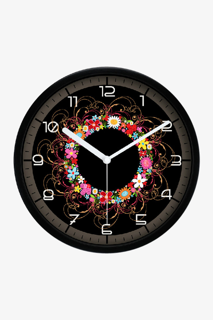 Art Wall Clock With Colorful Flowers In Black