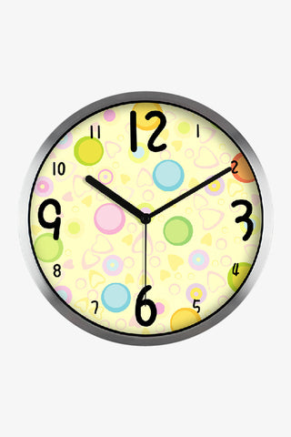Art Wall Clock Lovely Ball In Silver Satin