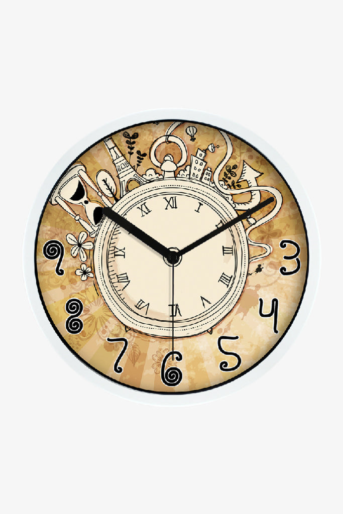 Vintage Art Wall Clock In White