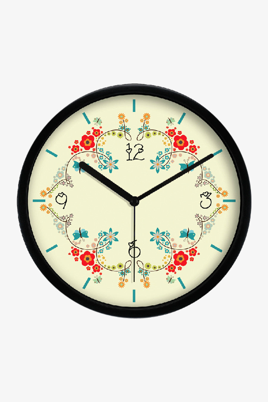 Floral Art Wall Clock In Black