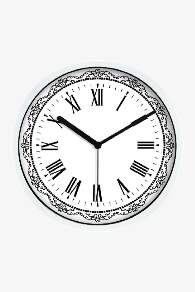 Classic Art Wall Clock In White
