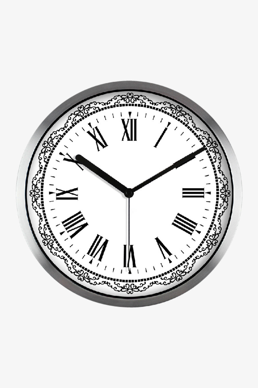 Classic Art Wall Clock In Silver Satin