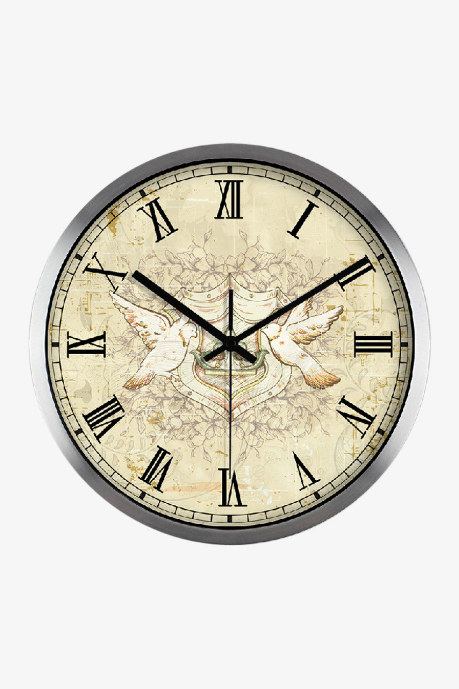 Floral Pattern Clock Silver Satin