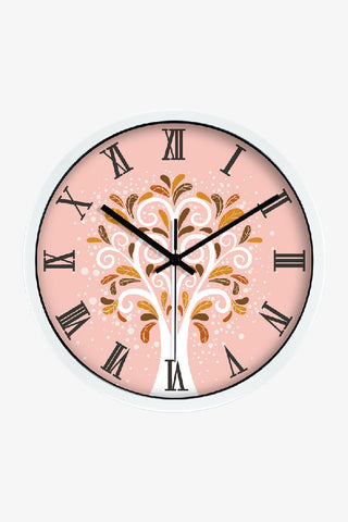 Art Wall Clock Cute Tree In White