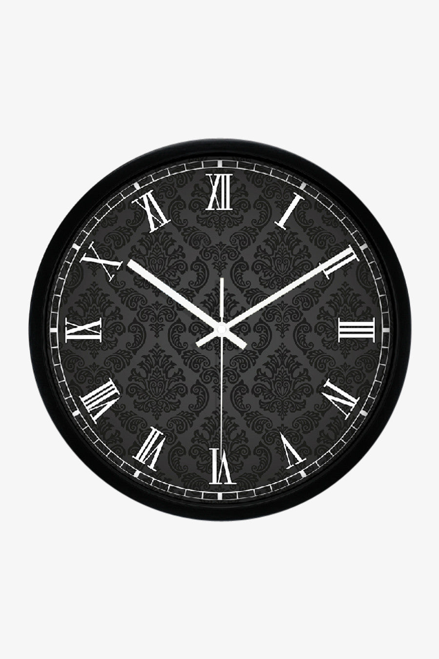 Floral Pattern Clock Black