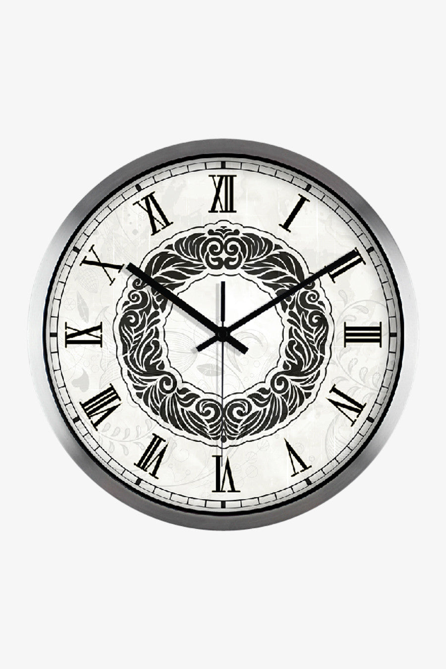 Retro Art Wall Clock In Silver Satin