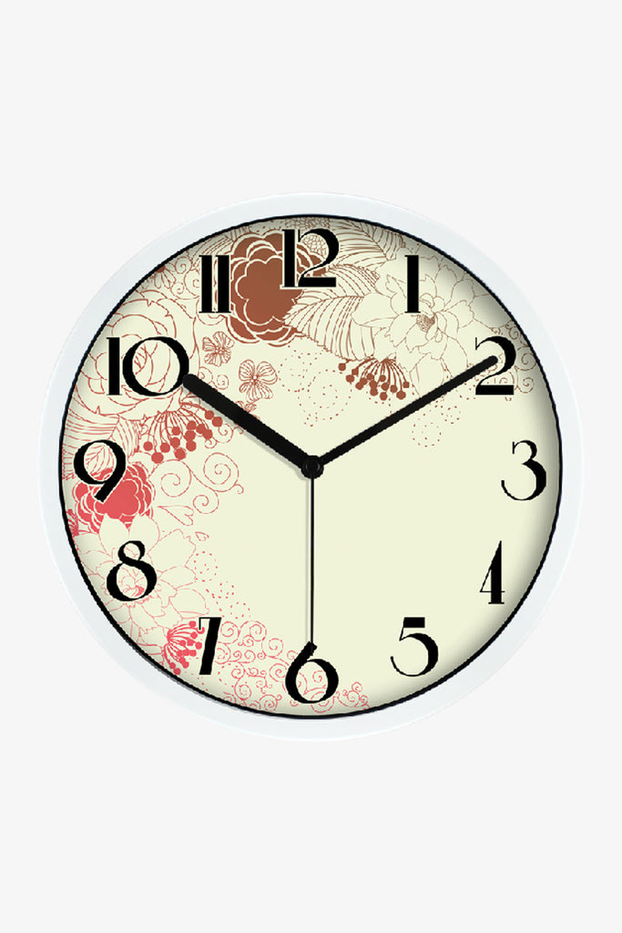 Elegant Art Wall Clock In White