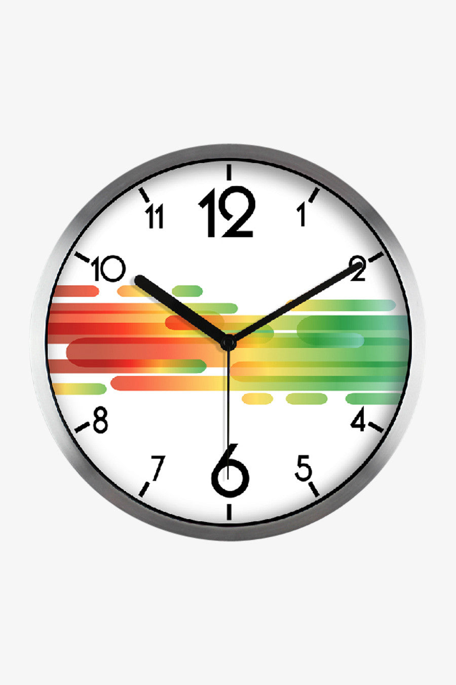 Art Stripes Clock Silver Satin