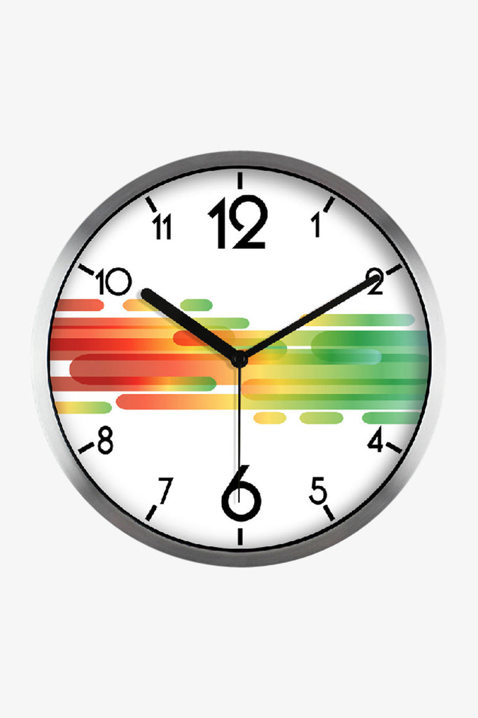 Fashion Art Wall Clock With Colorful Stripes In Silver Satin