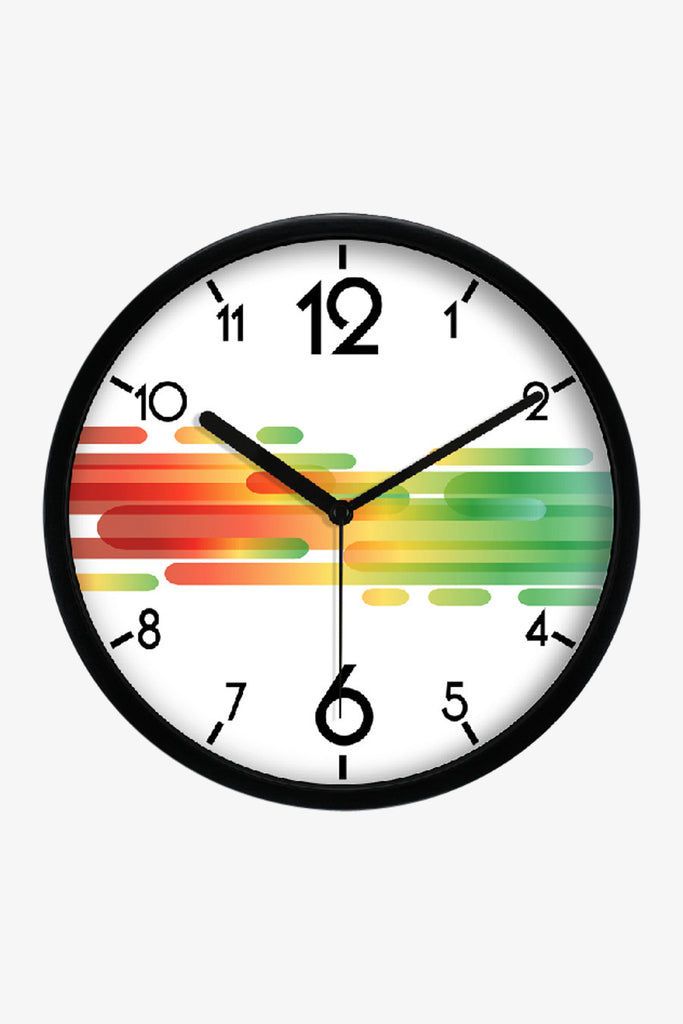 Fashion Art Wall Clock With Colorful Stripes In Black