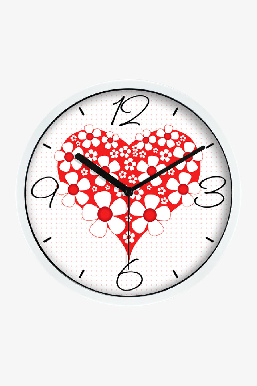 Floral Heart Clock White