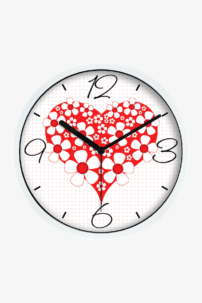 Fashion Art Wall Clock Red Heart In White