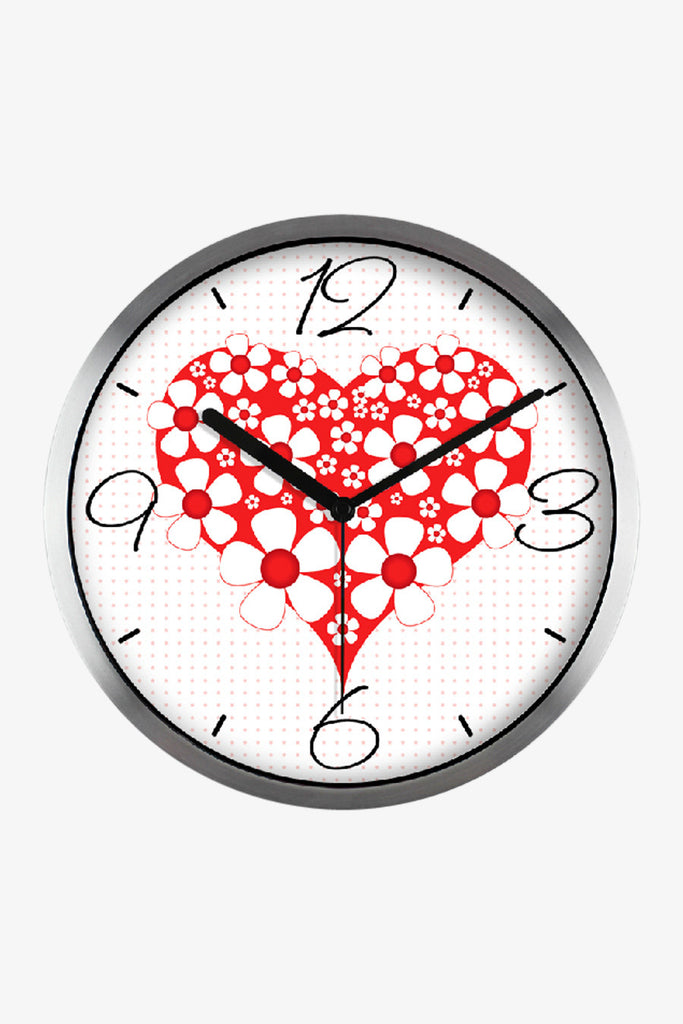 Fashion Art Wall Clock Red Heart In Silver Satin