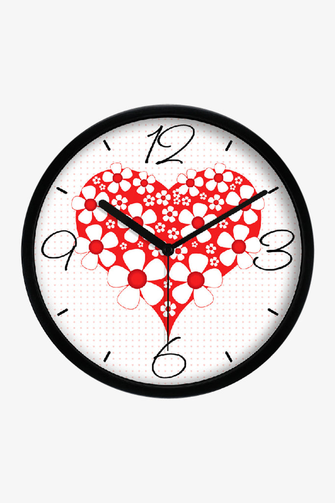 Fashion Art Wall Clock Red Heart In Black