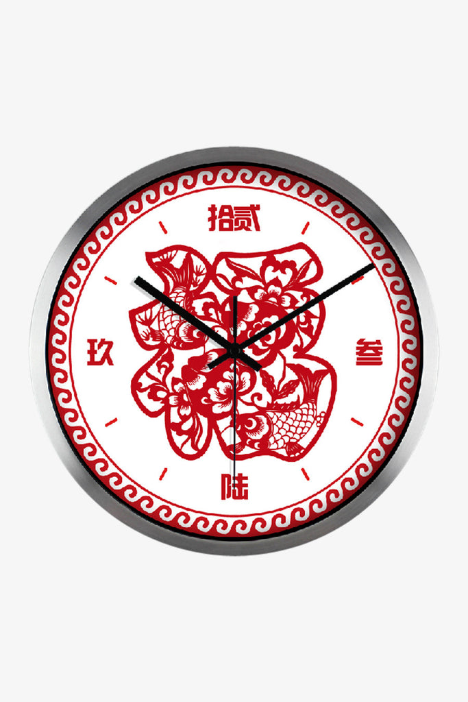 Fashion Art Wall Clock With Chinese Fortune In Silver Satin