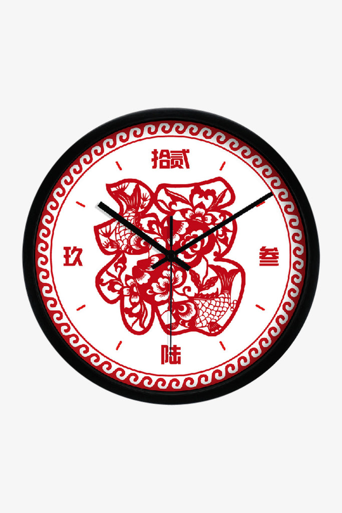 Fashion Art Wall Clock With Chinese Fortune In Black