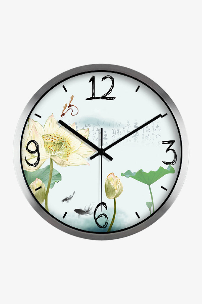 Art Wall Clock Painting Floral Clock In Silver Satin
