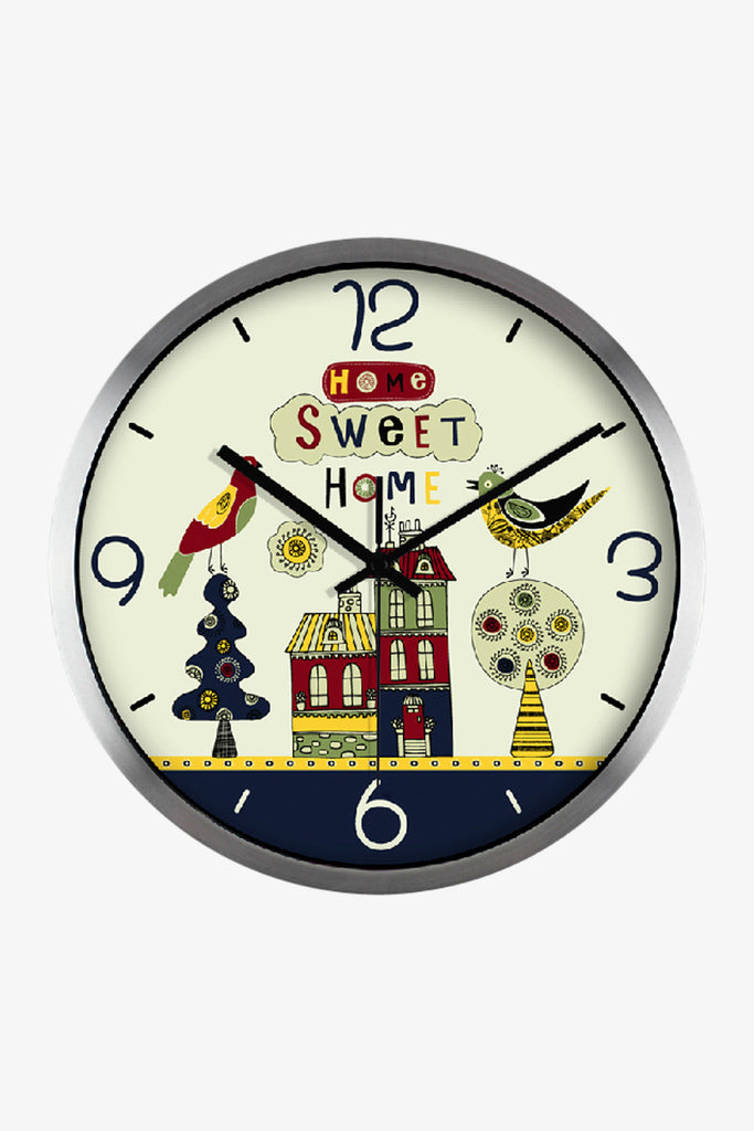 Art Wall Sweet Home Clock In Silver Satin