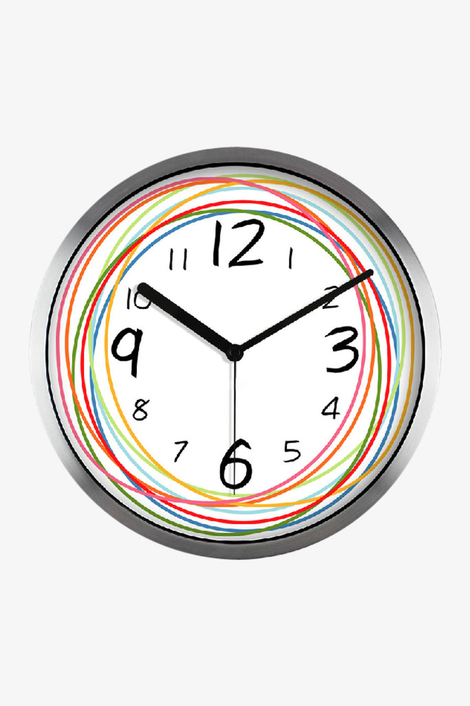 Fashion Art Wall Clock With Colorful Circular Lines In Silver Satin