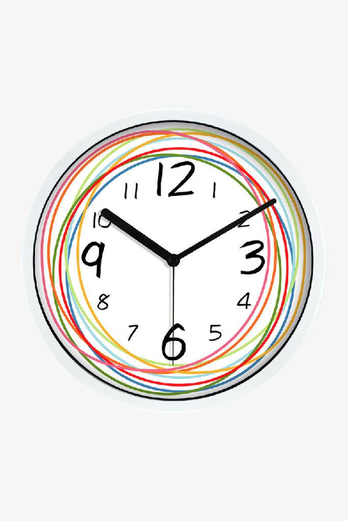 Fashion Art Wall Clock With Colorful Circular Lines In White