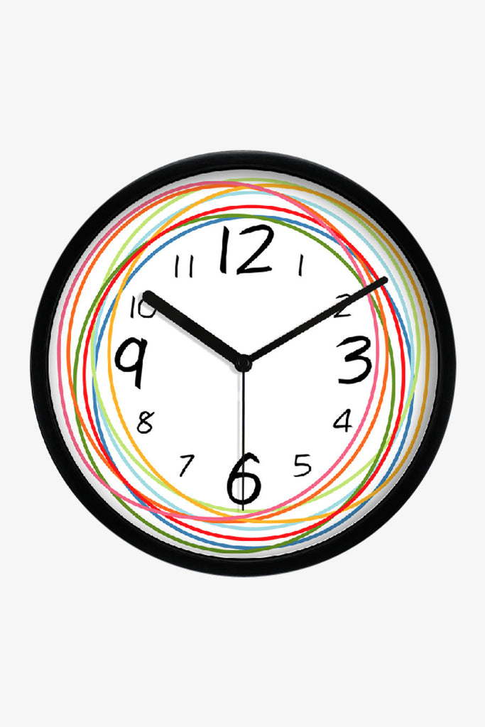 Fashion Art Wall Clock With Colorful Circular Lines In Black
