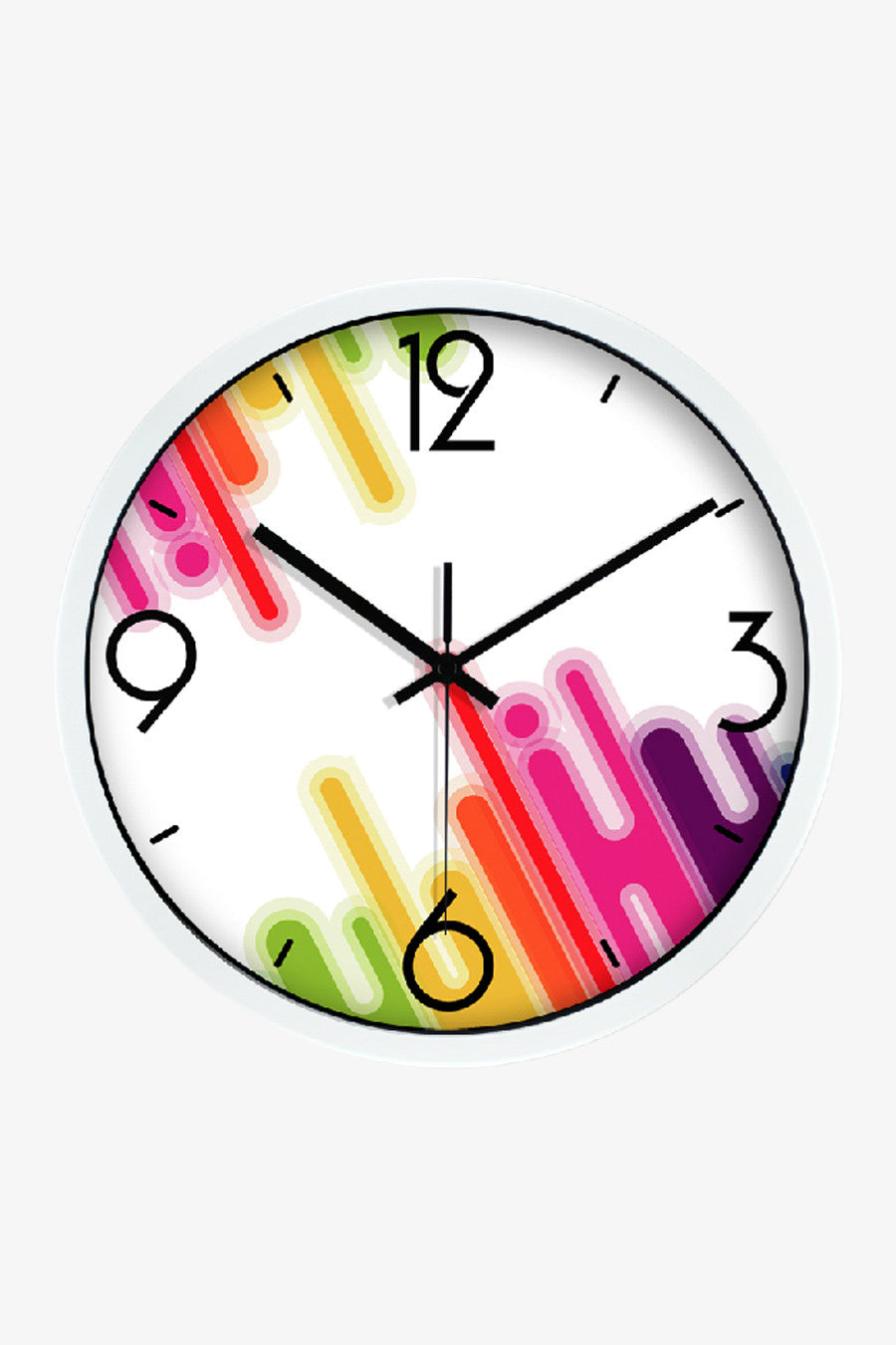 Inclined Stripes Clock White