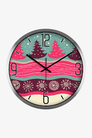 Art Wall Merry Christmas Clock In Silver Satin