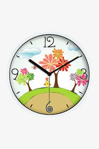 Art Wall Clock With Cartoon Trees In White