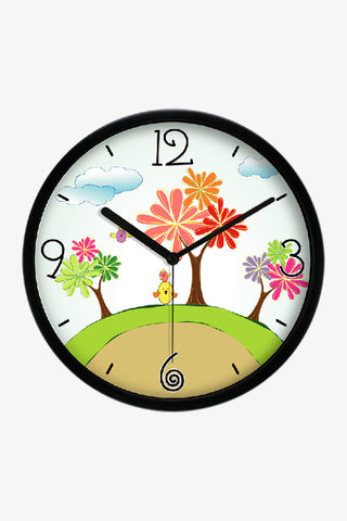 Art Wall Clock With Cartoon Trees In Black
