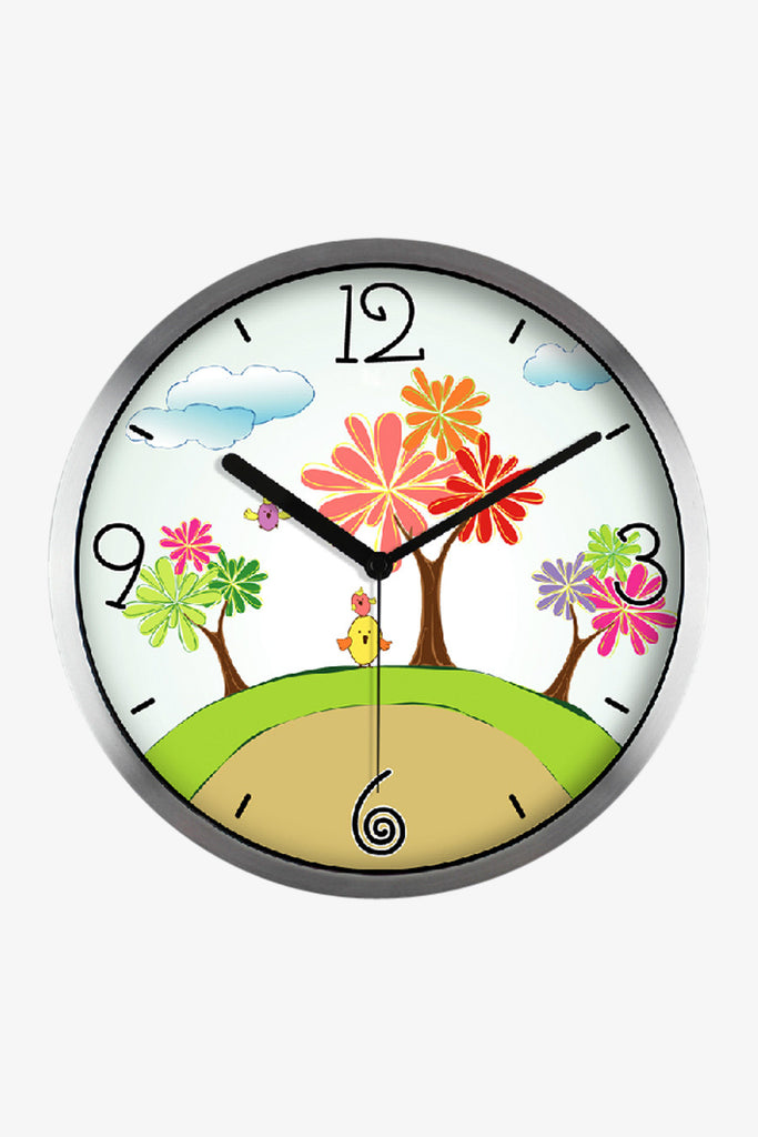 Art Wall Clock With Cartoon Trees In Silver Satin