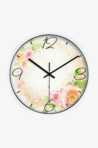 Fashion Art Wall Clock With Sweet Flowers In White
