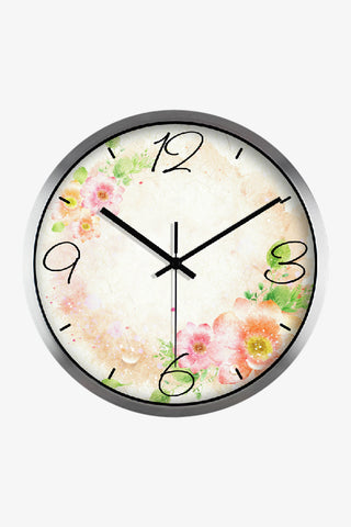 Fashion Art Wall Clock With Sweet Flowers In Silver Satin