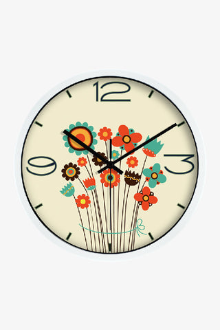 Art Wall Cute Little Flowers Clock In White