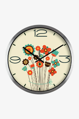 Art Wall Cute Little Flowers Clock In Silver Satin