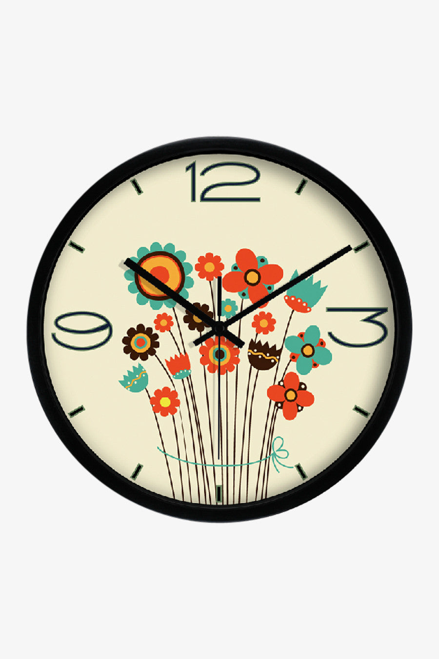 Cute Flower Clock In Black