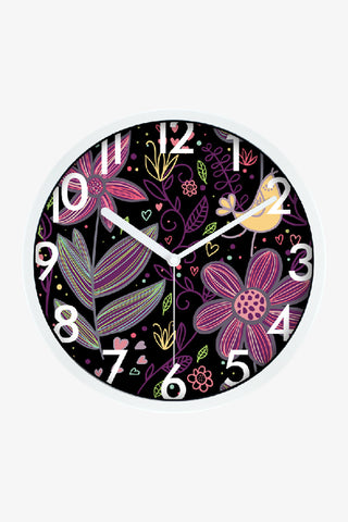 Art Wall Clock With Flowers In White