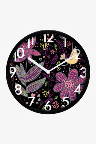 Art Wall Clock With Flowers In Black