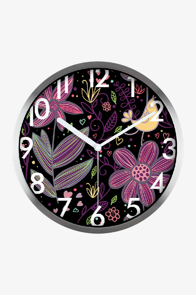 Art Wall Clock With Flowers In Silver Satin