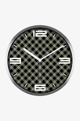 Vintage Tartan Art Wall Clock In Silver Satin