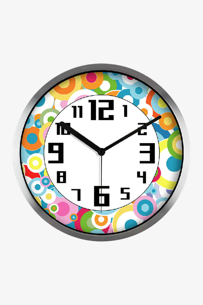 Round Icons Clock Silver Satin