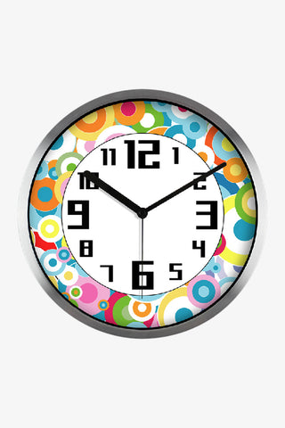 Fashion Art Wall Colorful Round Icons Clock  In Silver Satin